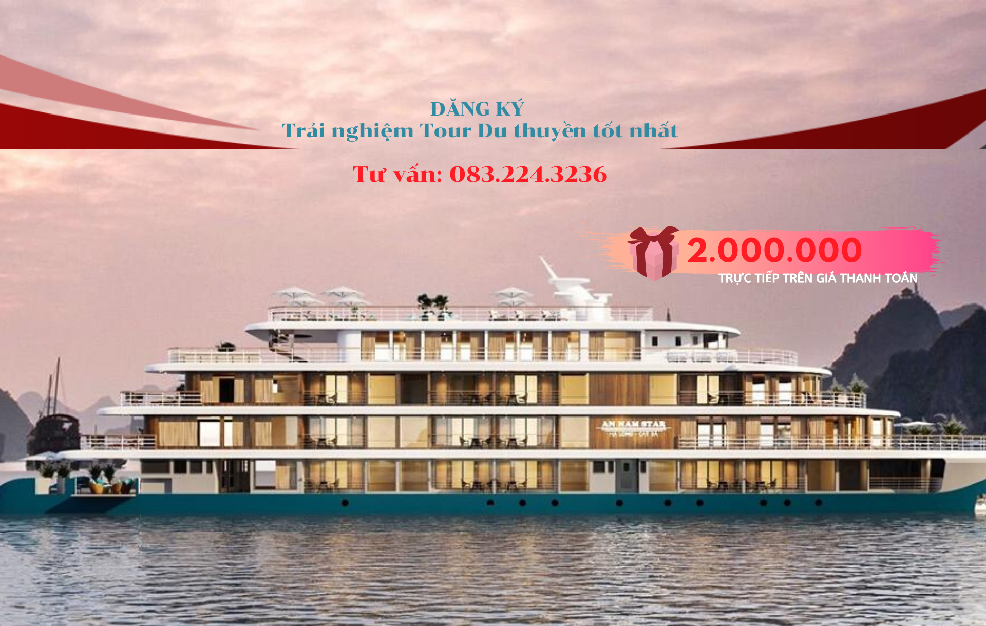 Tặng ngay VOUCHER trị giá 2 TRIỆU khi đăng ký trải nghiệm tour Du thuyền